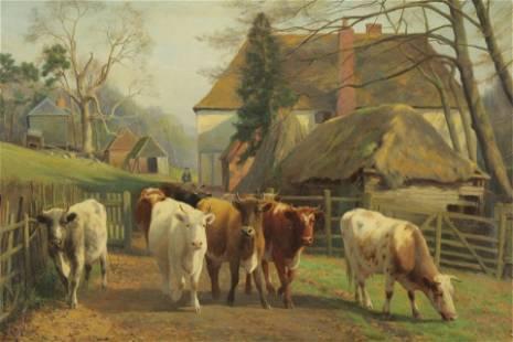 William Sidney Cooper - Cows on the Farm, O/C
