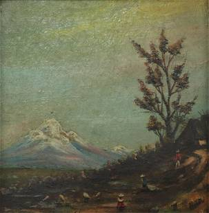 Mountain Landscape with Figures - O/B