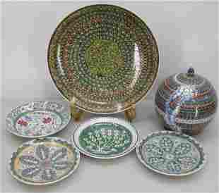 5 Turkish Ceramic Plates and Covered Jar