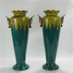 Pair Continental Blue/Green Glazed Majolica Vases