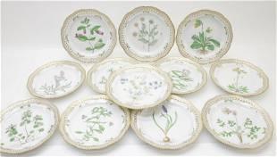 12 Flora Danica Porcelain Plates, Royal Copenhagen