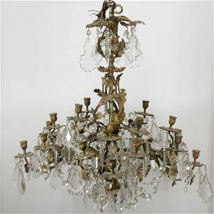 Louis XV Gilt Bronze and Crystal Chandelier