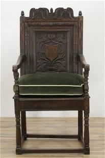 English Baroque Inlaid Oak Wainscot Chair, 17th C.