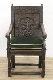 English Baroque Oak Wainscot Chair, 17th C.
