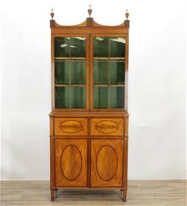George III Inlaid Secretary Bookcase, 18th C.