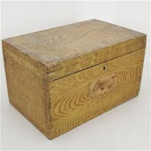 American Grain Painted Small Trunk, 19th C.