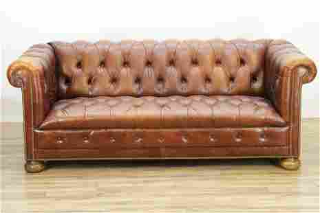 Shafer Bros. Leather Chesterfield Loveseat