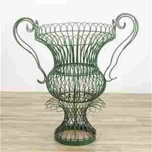 Victorian Style Green Painted Wire Garden Urn