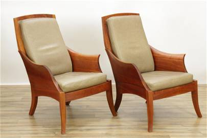 """Pair Thomas Moser Cherry """"Wing"""" Armchairs"""