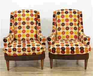 Pair Contemporary Upholstered Walnut Armchairs