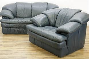 Maurice Villency Leather Club Chair & Sofa