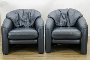 Pair Maurice Villency Leather Club Chairs
