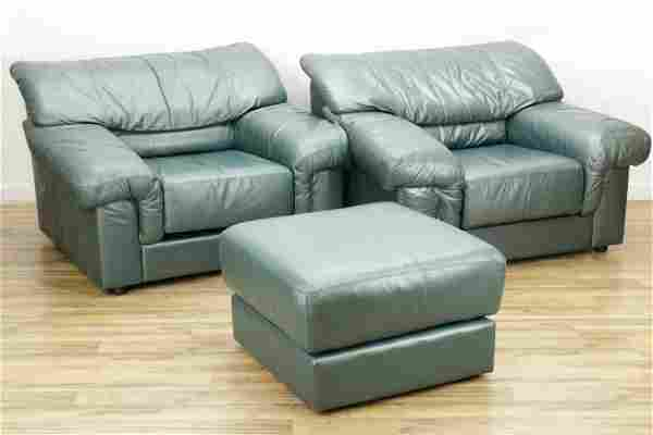 Pair of Villency Leather Club Chairs & Ottoman