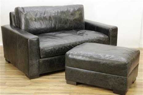 Restoration Hardware Black Leather Sofa & Ottoman