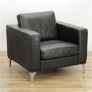 Restoration Hardware Black Leather Club Chair