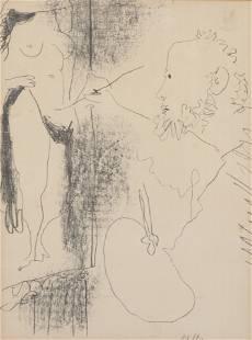 Pablo Picasso, Le Peintre et so Modele, litho