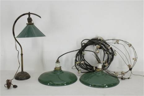 2 Industrial Tole Peinte Fixtures and a Lamp