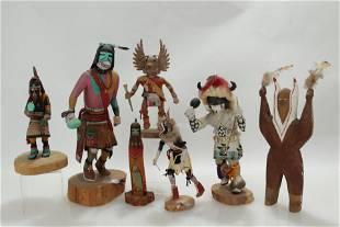 Group of Carved Wood Southwest Kachinas
