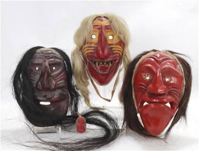 Group of Three Iroquois False Face Masks