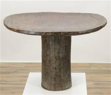 African Carved Hardwood Side Table