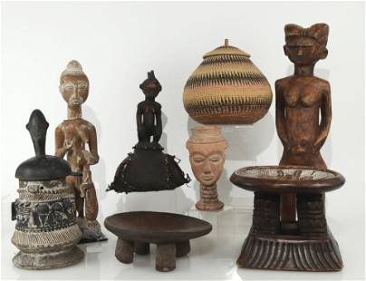 7 African Wooden Figures, Benches, Basket
