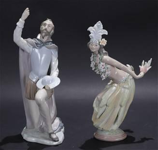 Two Lladro Figurines: Polynesian Dancer, D.Quixote