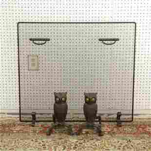 Pair Arts & Crafts Style Owl Andirons, Fire Screen