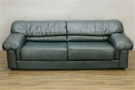 Maurice Villency Blue/Green Leather Sofa