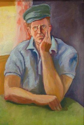 Bernard Karfiol, Male Figure at Table, Oil on Canvas