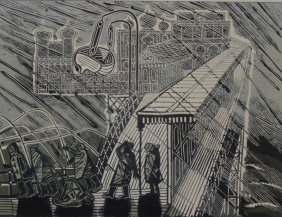 "Edward Bawden, ""Snowstorm over Brighton"", linocut"