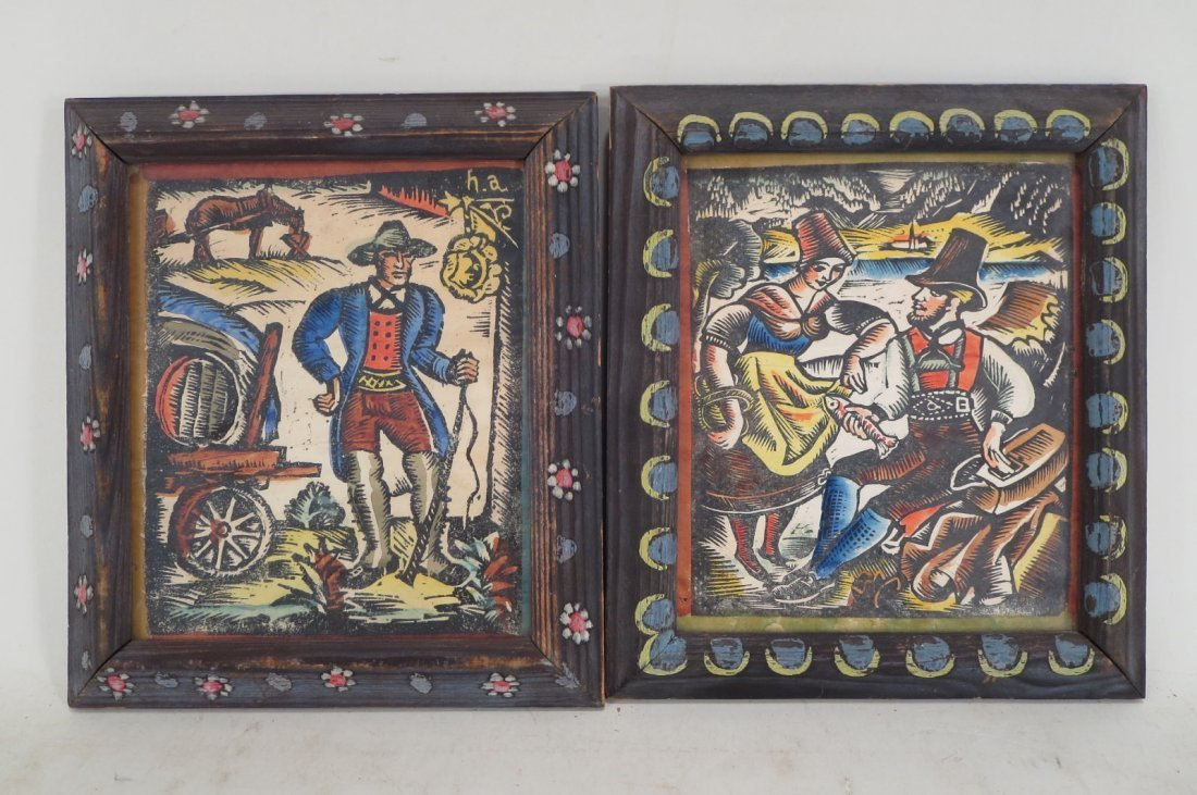 Two Austrian/German Colored Woodblocks, early 20th c.