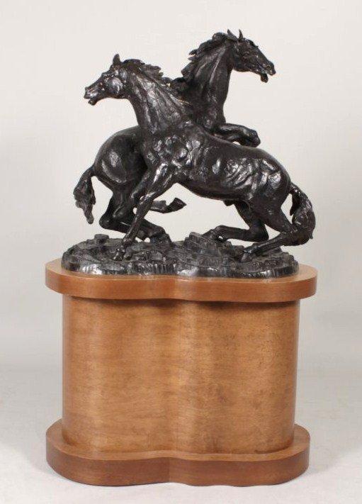 Castano, Fighting Stallions, 20th century, bronze