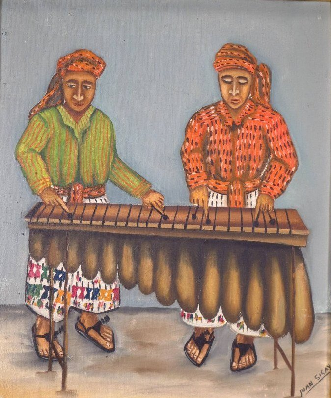 Juan Sisay, Guatemalan, 2 paintings, o/c (2 pcs.)