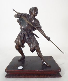 Japanese Bronze Sculpture of a Warrior, 19th/20th C.