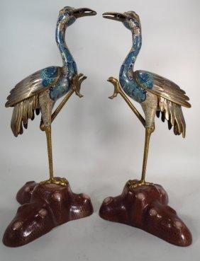 Pair of Cloisonne Cranes, Asian, 20th C.