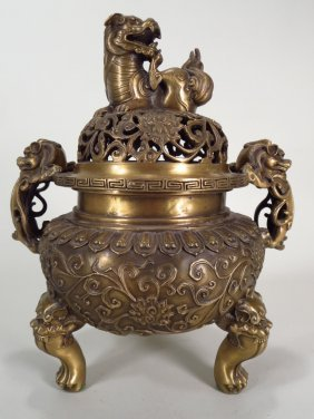 Chinese Brass Censer Fu Lion Dogs, 20th C.