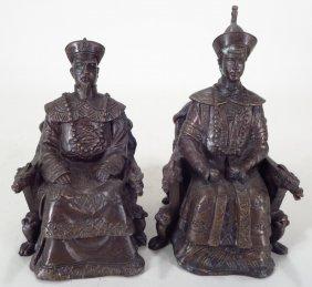 Pr Chinese Bronze Ancestor Figures, 20th C.