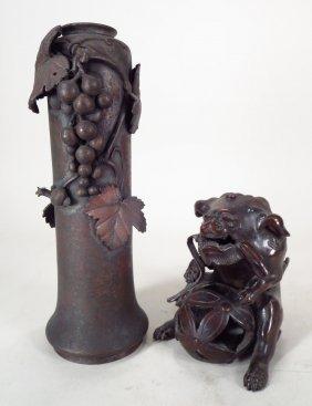 Japanese Bronze Fu Lion-Dog, Grapes & Snail