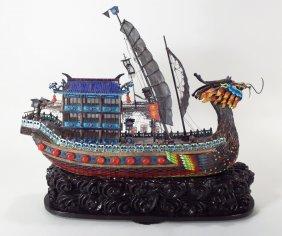 Chinese Enamel Dragon Junk, Wooden Base
