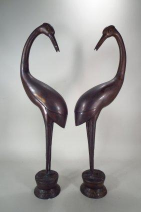 Pair Asian Bronze Standing Cranes, 20th C.
