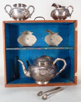4-Pc. sterling silver tea service, Chinese. 20th C.