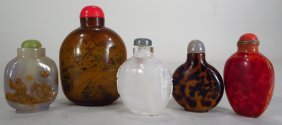5 Chinese Snuff Bottles, 20th C.