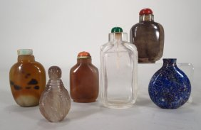 Six snuff and perfume bottles, 20th C.