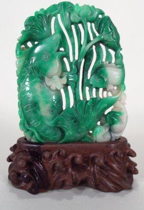 Chinese Jade Carving of Carp & Aquatic Plants
