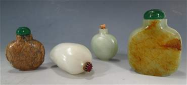 4 Chinese jade/hardstone snuff bottles, 20th C.