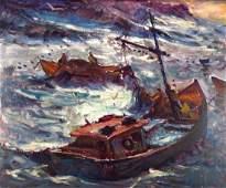 Robert Charles Gruppe, Ships at Sea, 20th c, o/c