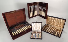 Four Boxed Sets of Utensils, 19th/20th C.