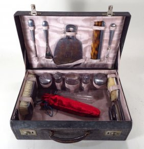 Assembled Set of Sterling Mounted Dresser Items