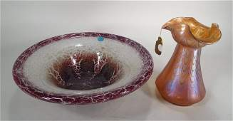 Loetz Phanomen Glass Vase & a WMF Ikora Bowl