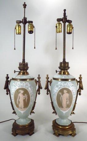Pr Lamps, Pate-sur Pate Medallions, 19th C.
